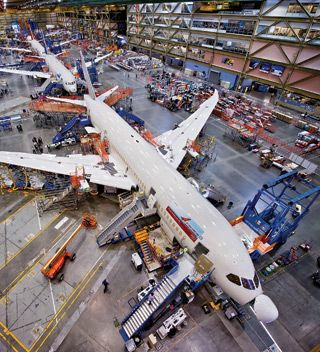 A complex system: Boeing's fuel-efficient 787 Dreamliner involved design input from many suppliers. The plane went to customers two years late.
