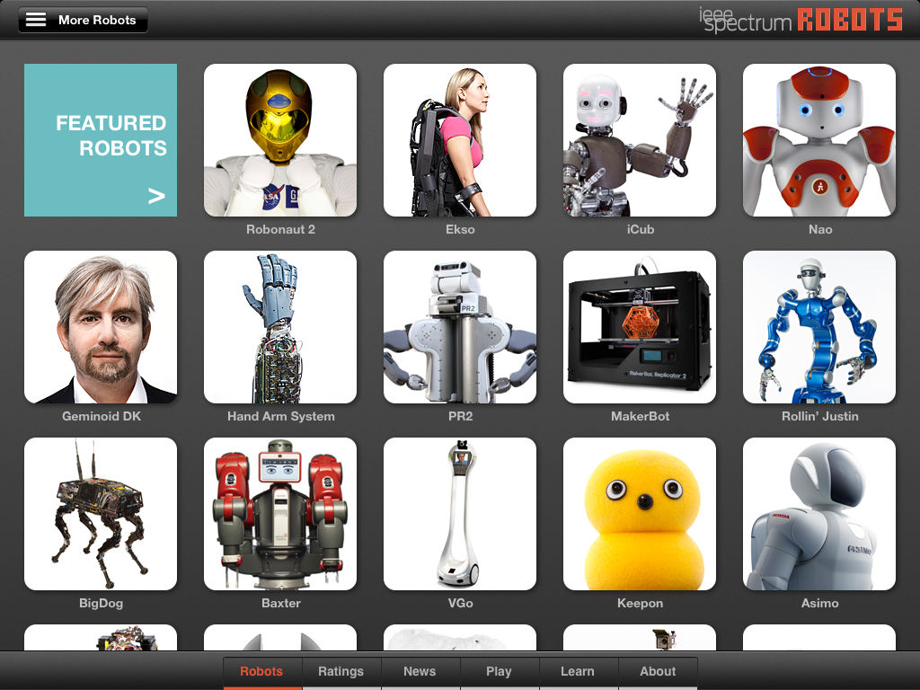 Robots for iPad app screenshot featured robots