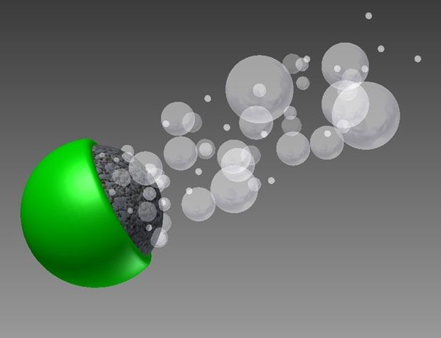 MICROROCKET: A particle made of titanium [green] and aluminum gallium [gray] propels itself by generating a stream of hydrogen bubbles in water.