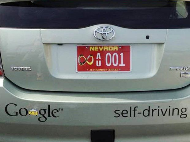 photo of self-driving car with Nevada licence plate