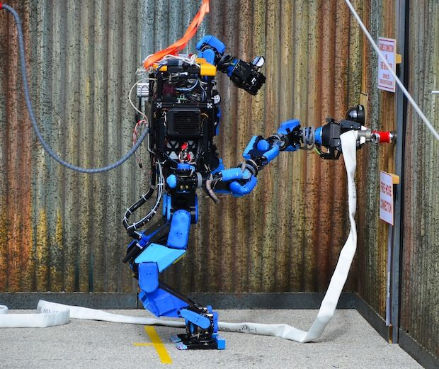 SCHAFT's robot, S-One, at the DARPA Robotics Challenge Trials