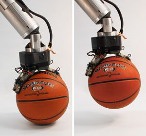 2 photos of robotic hand gripping basketball