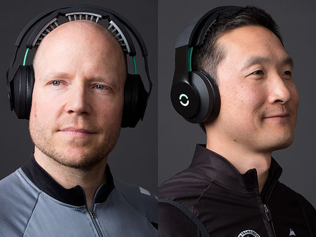 Brett Wingeier [left] and Daniel Chao, cofounders of Halo Neuroscience.