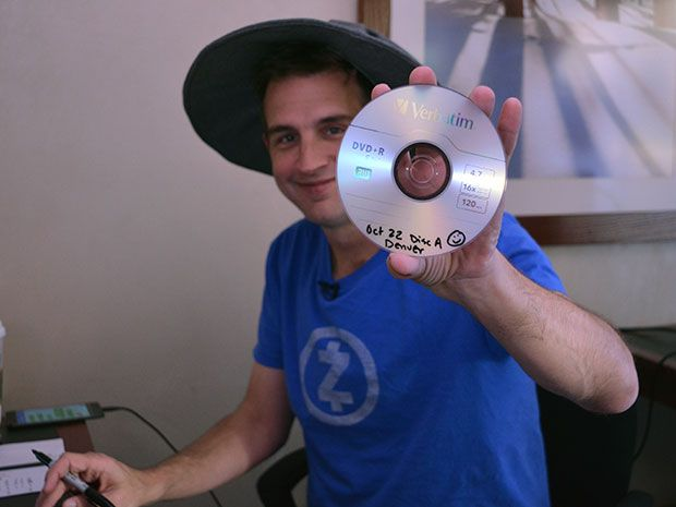 Zooko Wilcox,  Zcash CEO, with a DVD containing part of a record of the cryptographic ceremony.