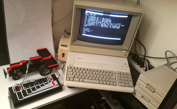 Apple IIe and a Lego-made external interface