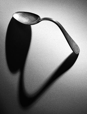 photo of bent spoon