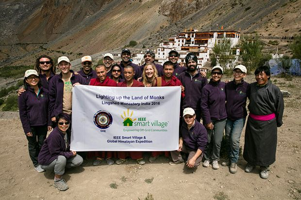 group shot of IEEE Smart Village and its partner Global Himalayan Expedition