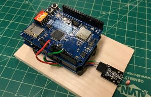 photo of an Arduino equipped with an Andee U-AIO shield
