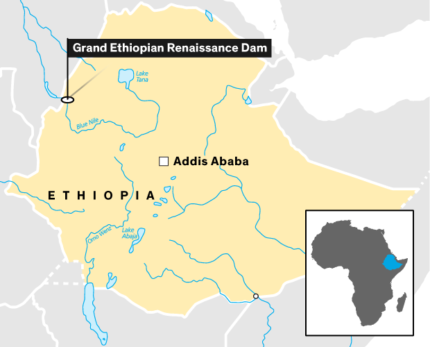 map of area of Ethiopian Dam