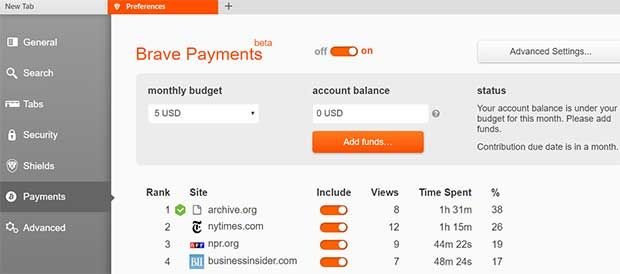 What the Brave Payments Web interface looks like
