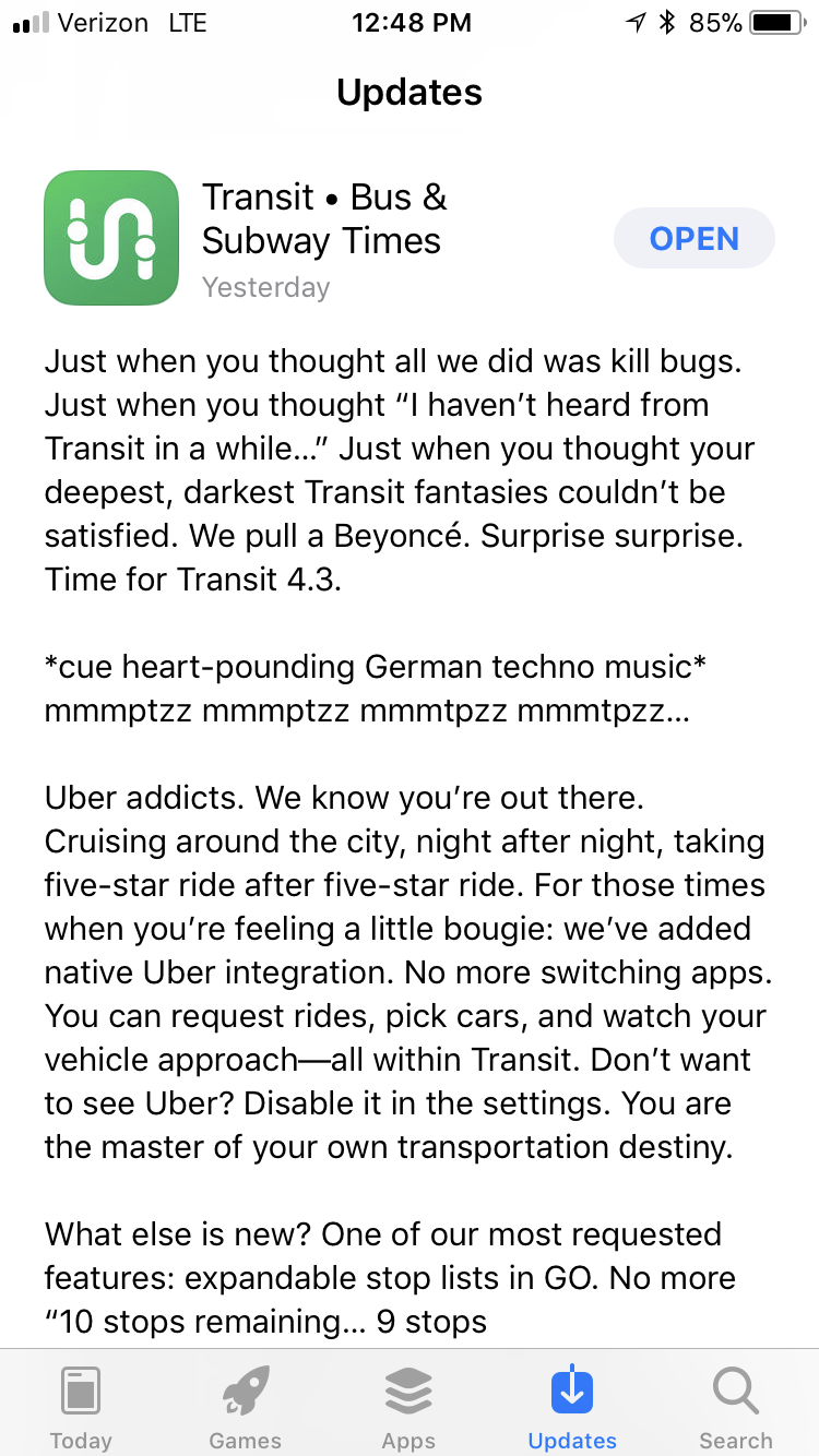 A screenshot of an app release note for Transit.