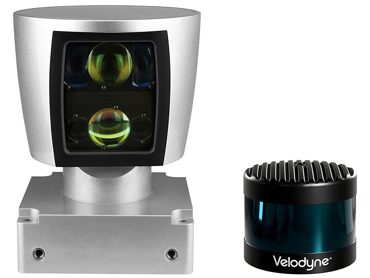 Velodyne's HDL-64E LiDAR sensor (left) vs the company's VLS-128 sensor (right).