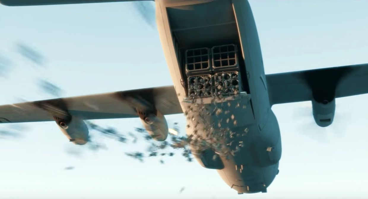 "Aircraft deploys swarm of lethal micro-drones in a scene from ""Slaughterbots"""