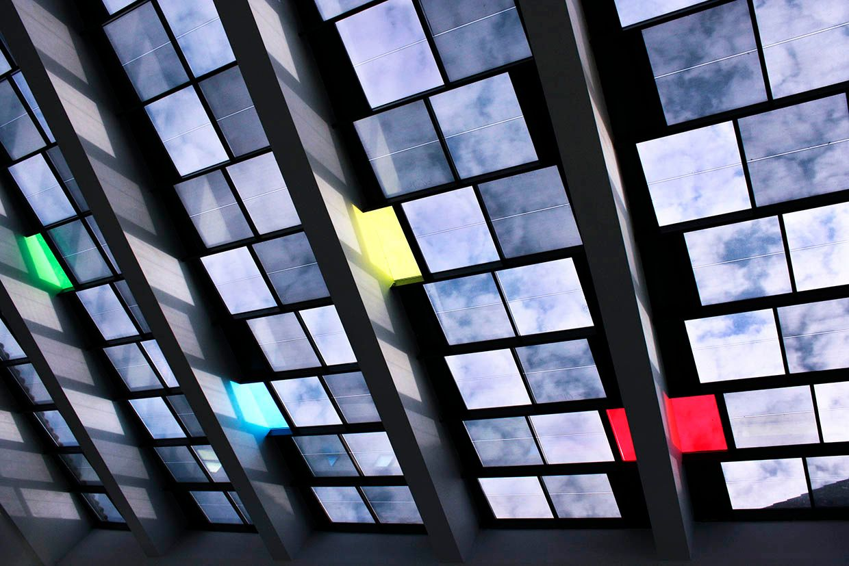 Photo showing Onyx Solar's 20-percent-transparent photovoltaic glass modules forming a mosaic.