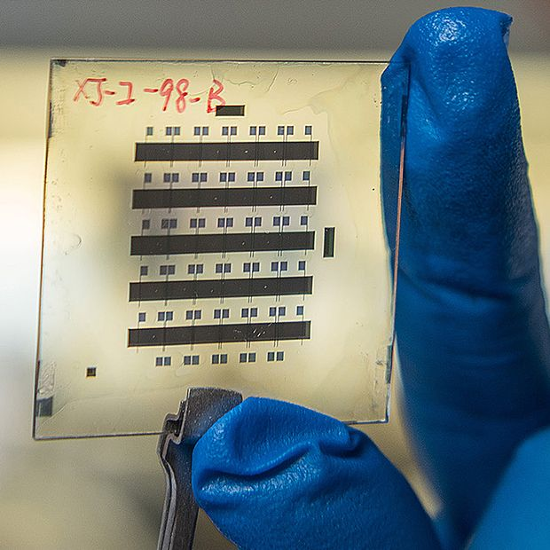 A sample of organic thin-film transistors created with a new nanostructured gate dielectric that gives the devices unprecedented stability.