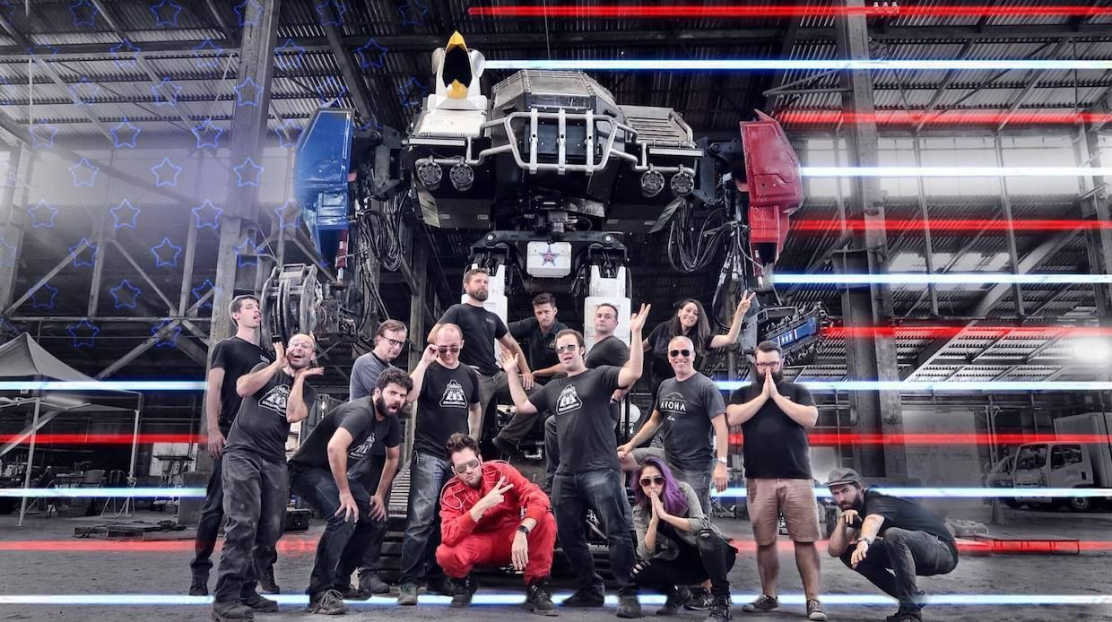 MegaBots team with their giant fighting robot Eagle Prime
