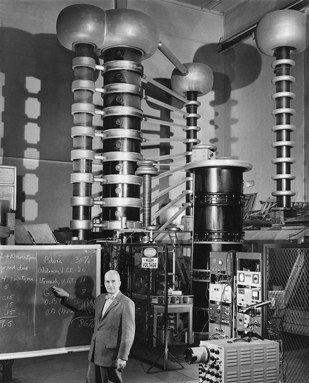 Dr Taylor with high voltage equipment