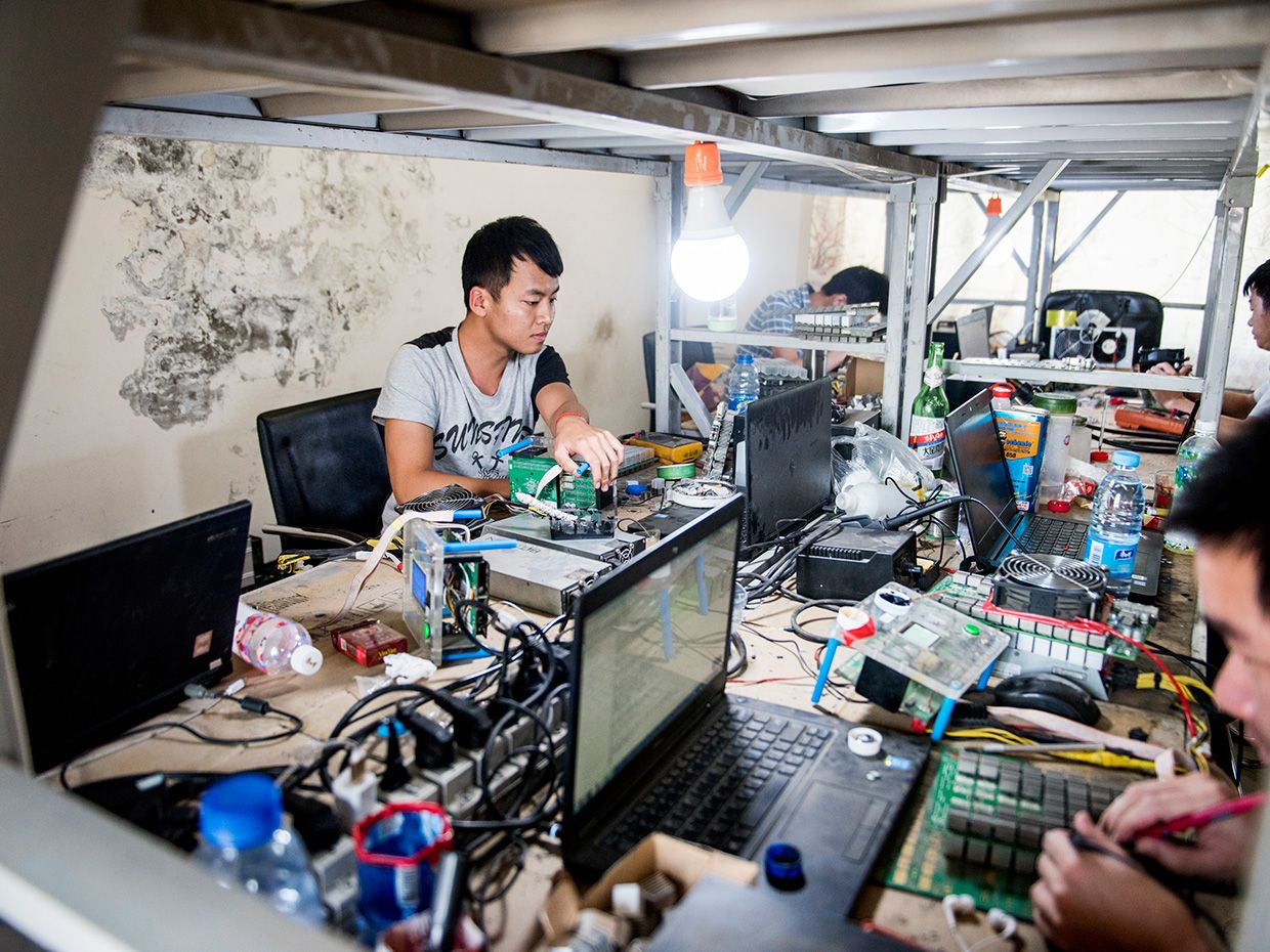 Why The Biggest Bitcoin Mines Are In China Ieee Spectrum Circuit Board Industrial Repair Group Irg Electronic Photo Stefen Chow Fix It Shop Workers Manually Tend To Broken Rigs Fixing Fans And Replacing Chips At Each Workstation Scavenged Jar