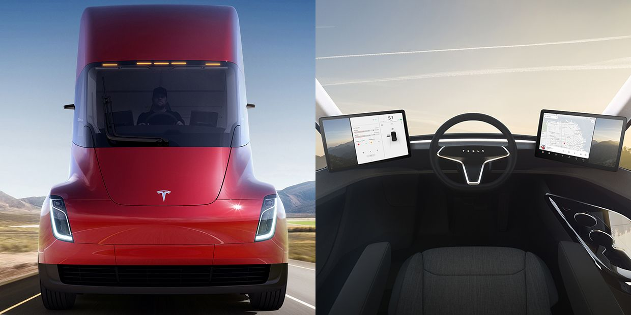 A big rig and a sports car point Tesla in the direction Elon Musk has envisioned