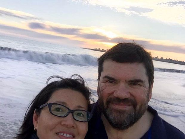 A selfie of Philippe Kahn and his wife in Santa Cruz