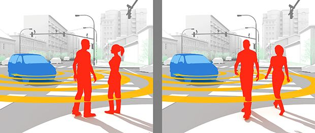 illustration depicting interpreting pedestrian behavior