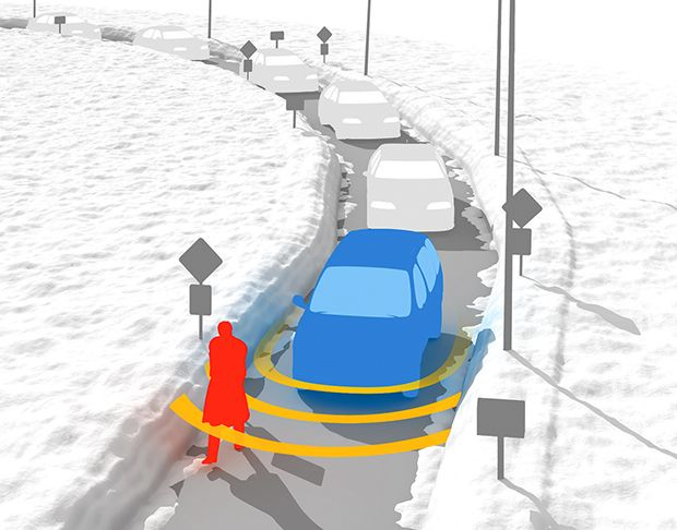 illustration depicting snow pushing pedestrians into the street