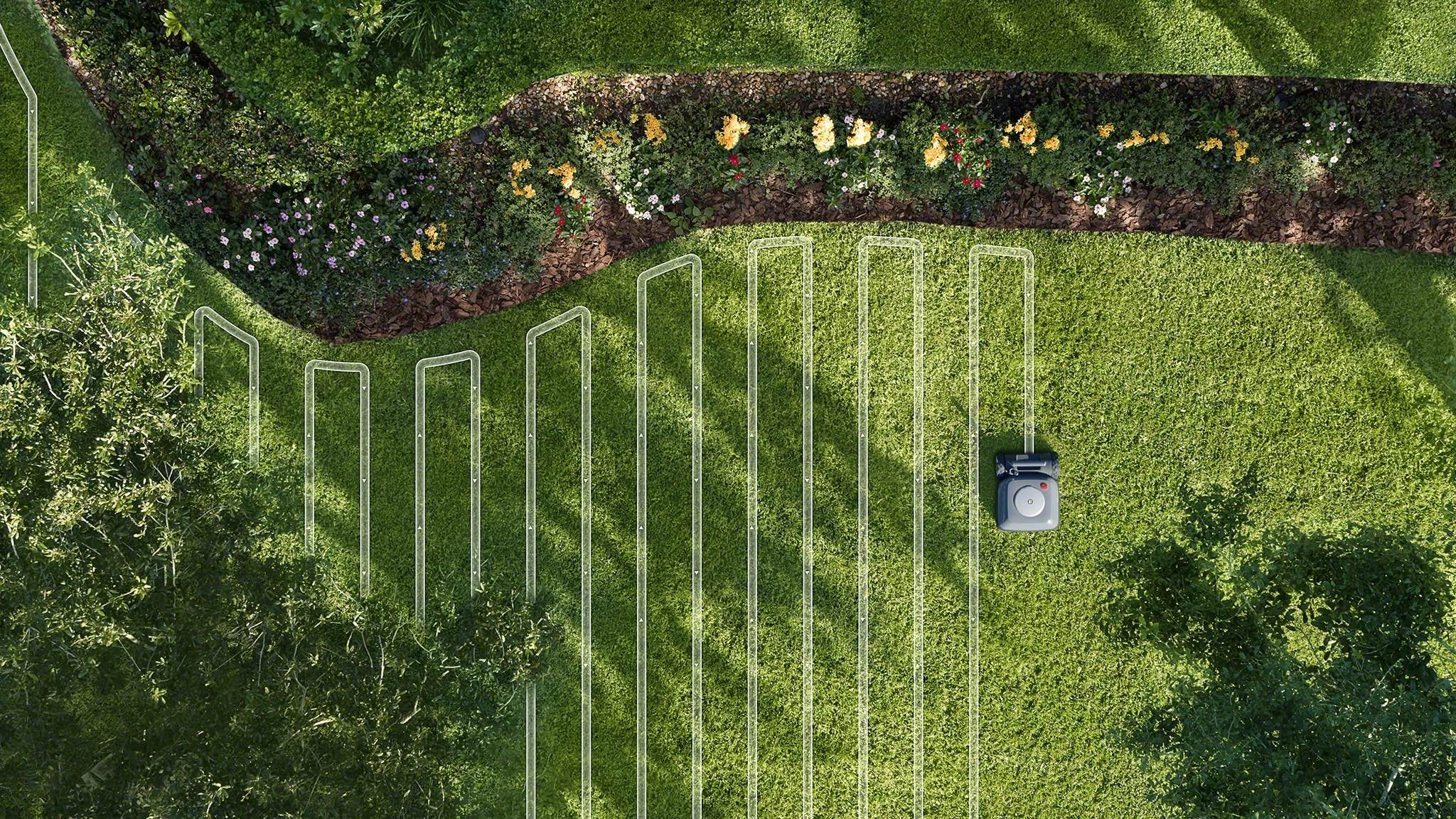 iRobot Terra robot mower will mow in a neat straight line pattern