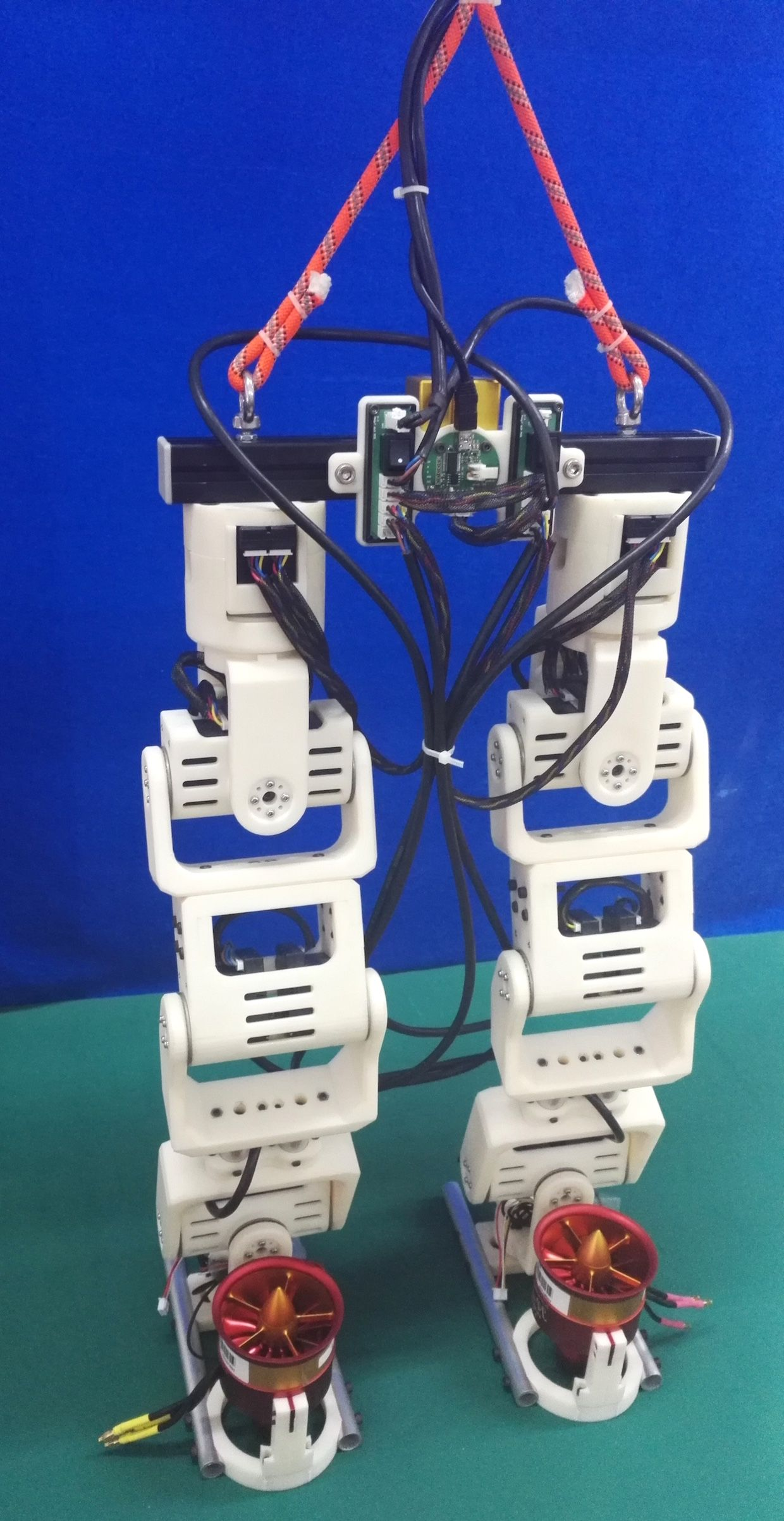 Humanoid robot legs with jet thrusters