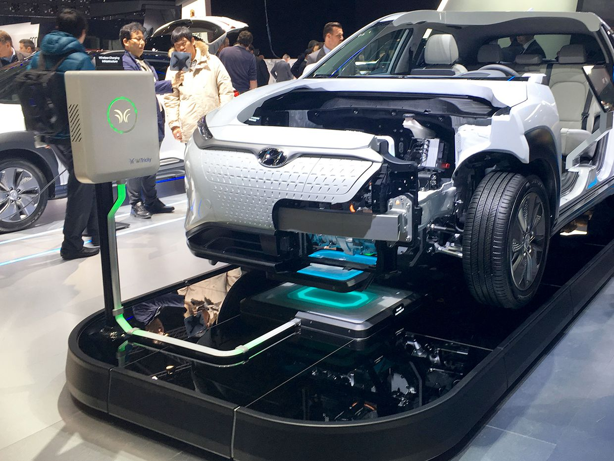 Charging a Hyundai Kona at the Geneva Auto Show
