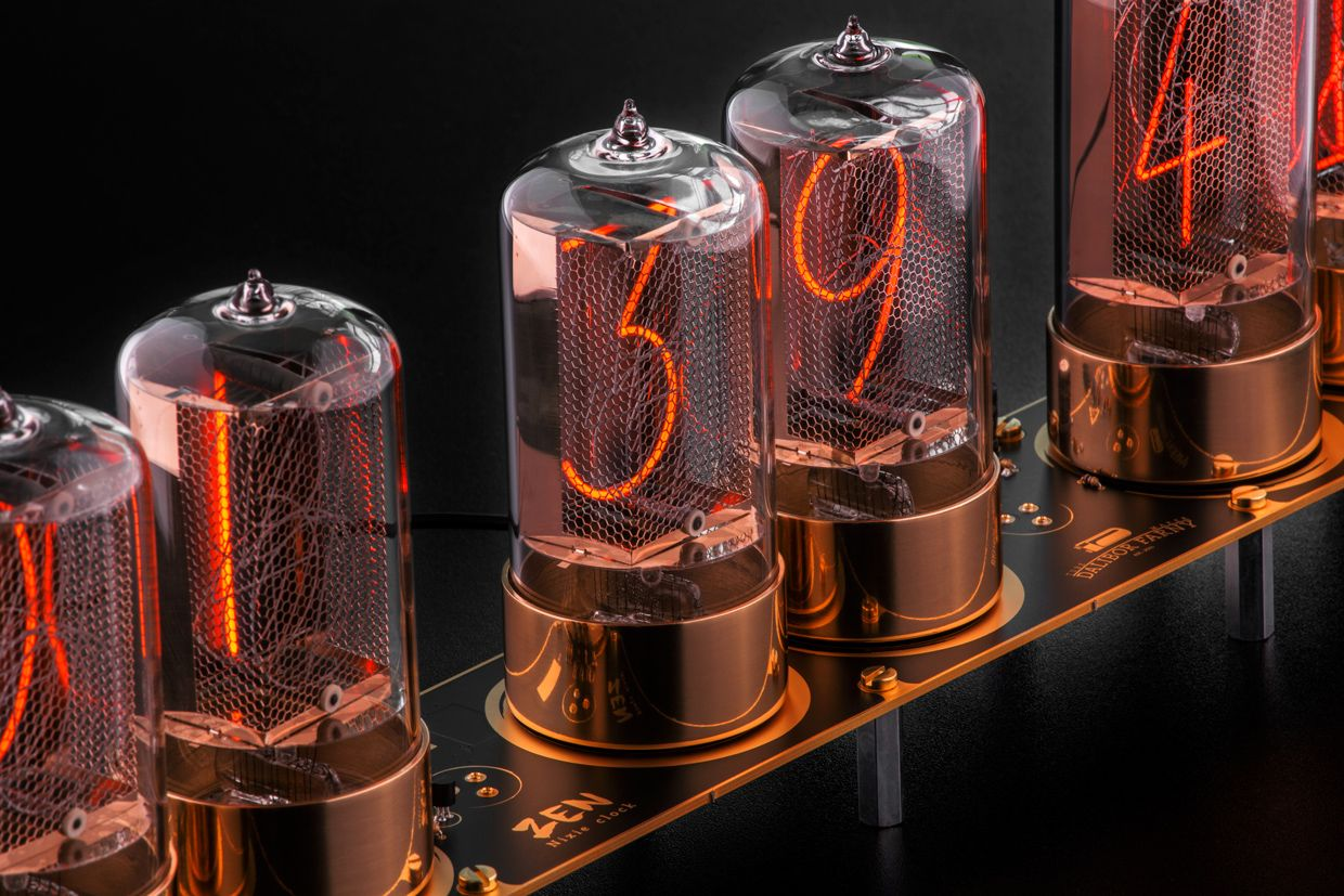 Photo of a clock features modern-day Nixie tubes made by Dalibor Farny.