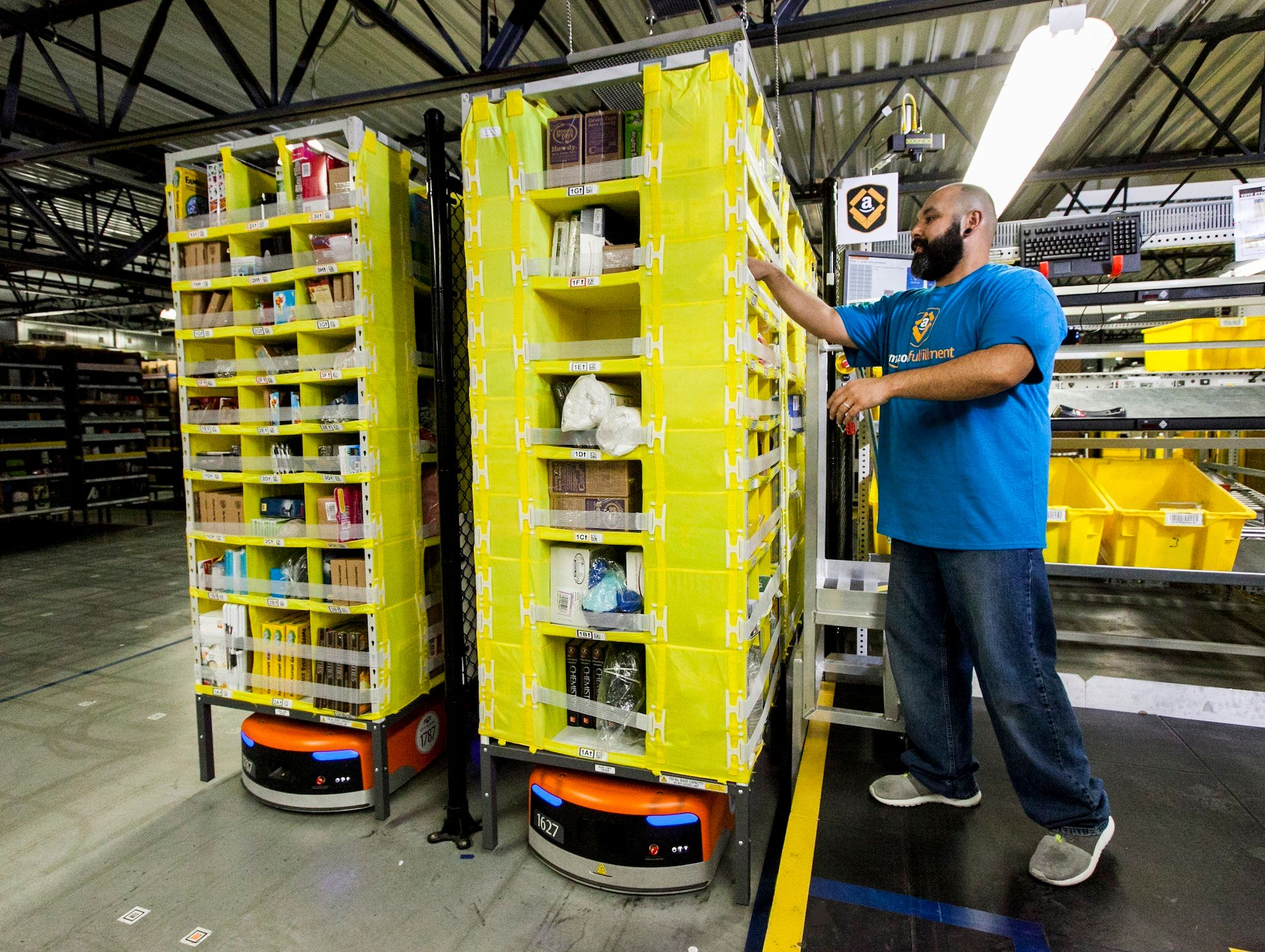 Amazon robots at a fulfillment center