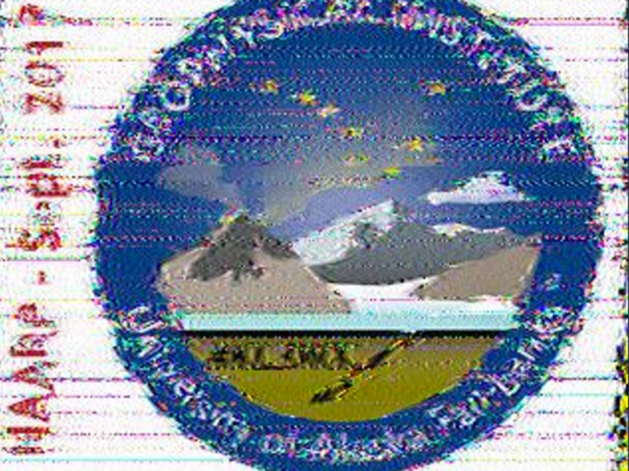An image of a University of Alaska Fairbanks logo as it was received by an amateur radio enthusiast.