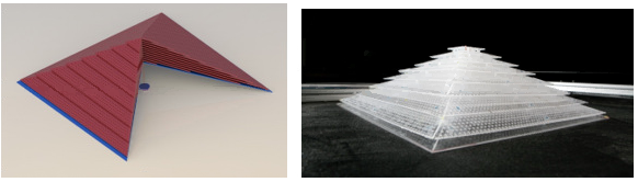 Figure 2. Design (left) and constructed version (right) of the pyramid-shaped 3D acoustic cloaking shell.