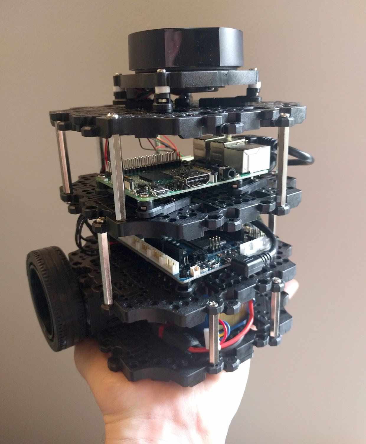 You can hold the TurtleBot 3 Burger on your palm