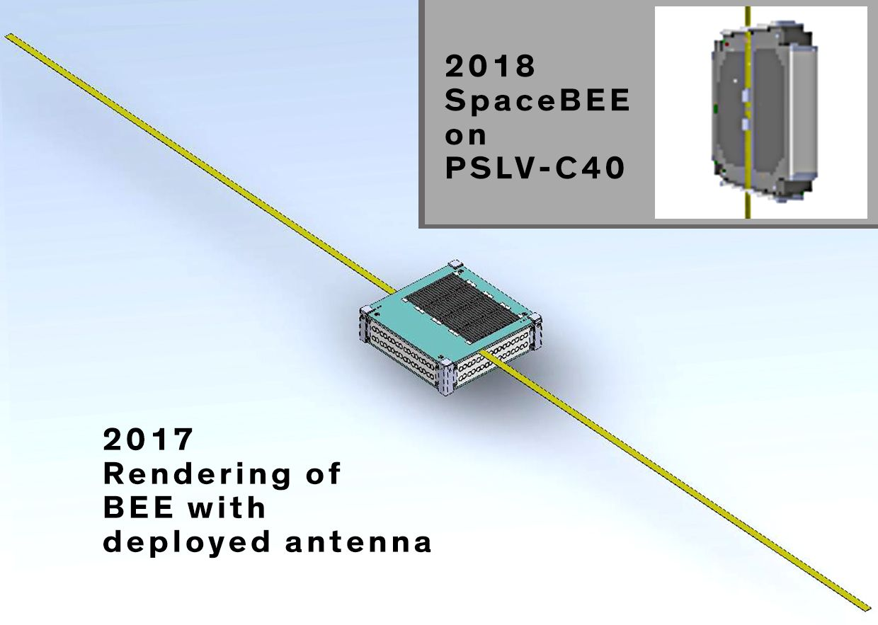 Comparison of the rendering of a BEE with deployed antenna from a 2017 document with an ISRO image of a SpaceBEE satellite.