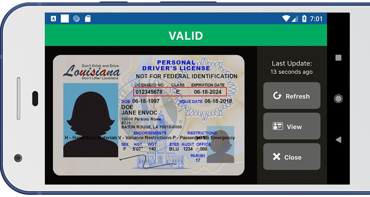 Pretend license on a phone showing off LA Wallet.