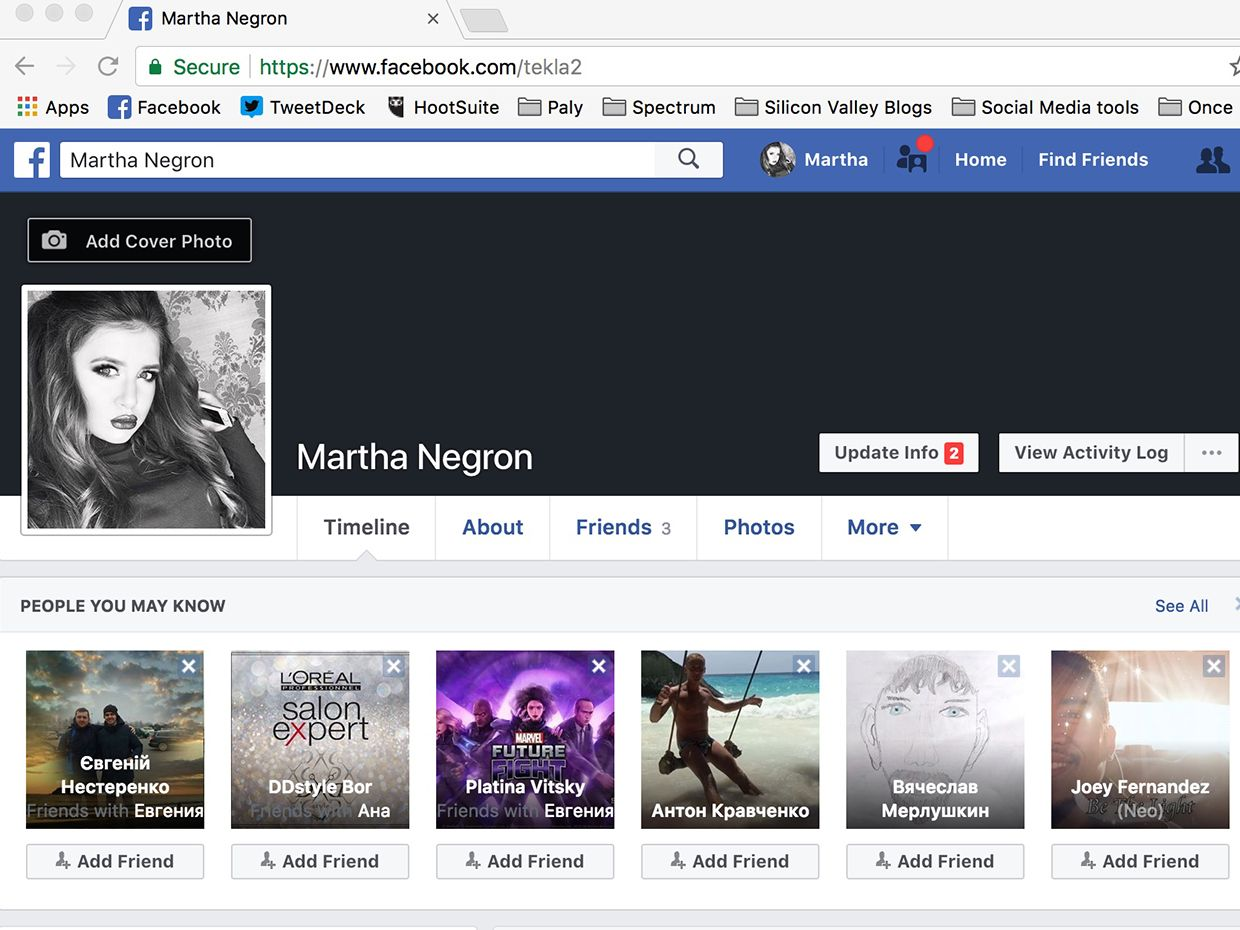 Screenshot of the author's alternative facebook profile.