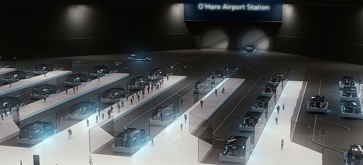 Illustration of the Boring Company's rapid transit station.