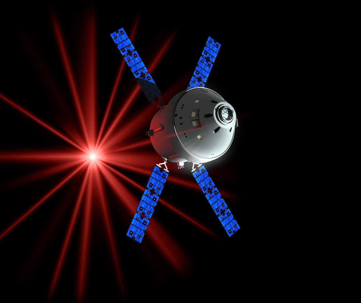 Infrared lasers will allow Orion to beam ultrahigh-definition video back to Earth, as shown in this artist's rendering.
