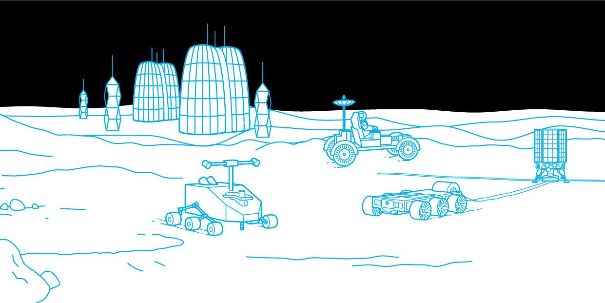 Illustration showing science, communications and navigation on the moon.