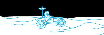 Illustration of a vehicle driving across the moon.