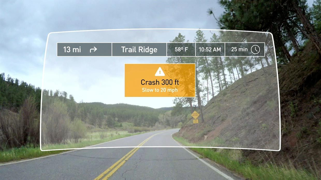 Mock up of a display to warn drivers.