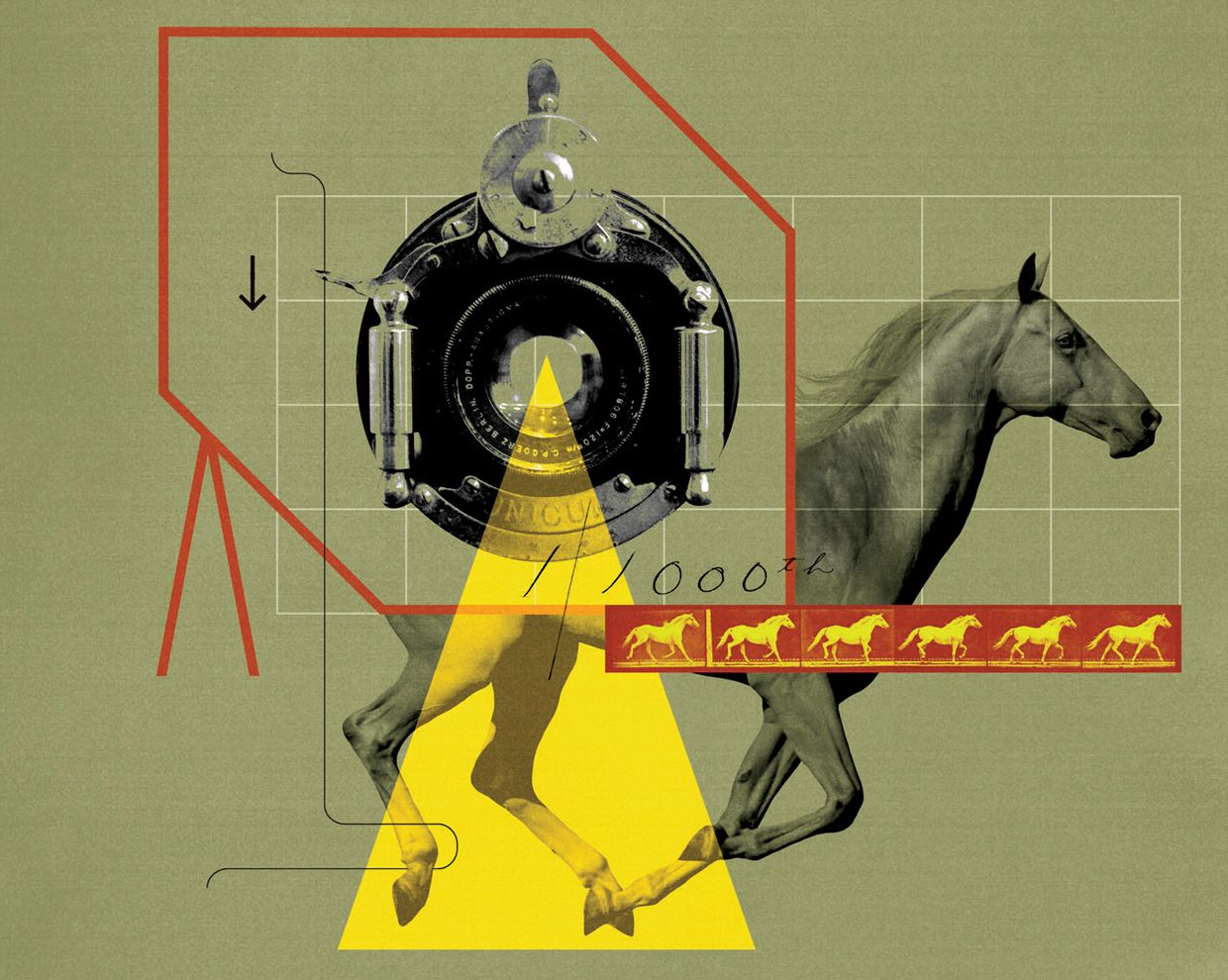Photo-illustration of camera lens and running horse.