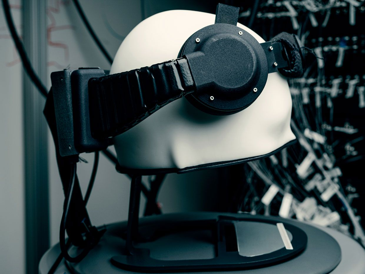 An early research kit of a wearable brain-computer interface device, built by Facebook Reality Labs.