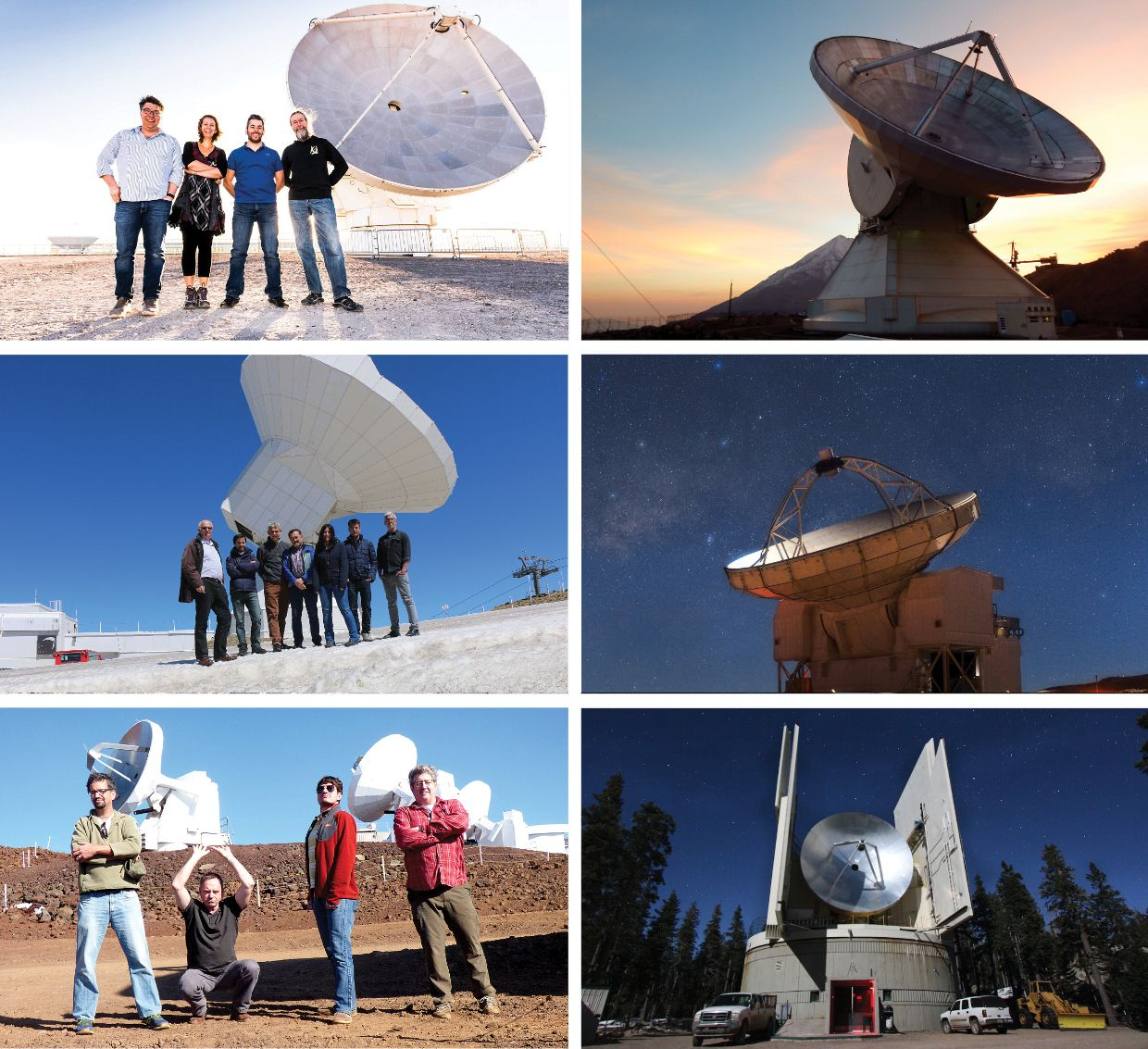 The scientific collaboration that resulted in the first images of a black hole involved hundreds of people, giant radio telescopes, and supercomputer facilities spread around the world. In addition to the James Clerk Maxwell Telescope and the South Pole Telescope [shown in photos above], six more radio telescopes were involved in the effort to produce pictures of a black hole: the Atacama Large Millimeter/submillimeter Array (ALMA), in Chile [top left]; the Large Millimeter Telescope (LMT), in Mexico [top right]; the IRAM Pico Veleta telescope, in Spain [middle left]; the Atacama Pathfinder EXperiment (APEX), in Chile [middle right]; the Submillimeter Array (SMA), in Hawaii [bottom left]; and the Submillimeter Telescope (SMT) [bottom right], in Arizona.