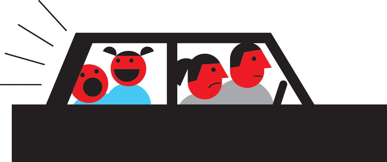 Illustration of unhappy parents driving with loud children in the back.