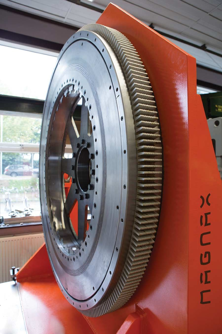 This large prototype shows the flat shape of the axial-flux design.
