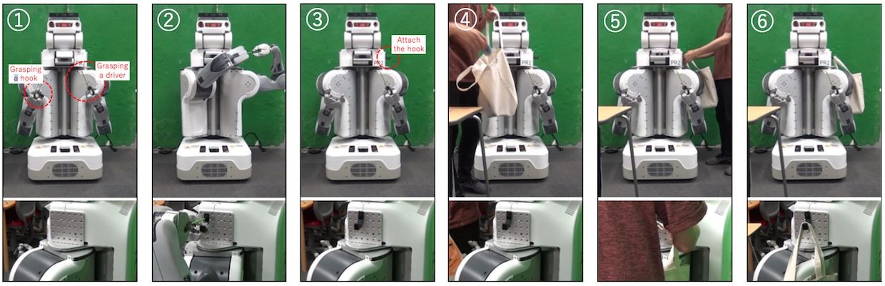 PR2 augmenting itself by adding a hook