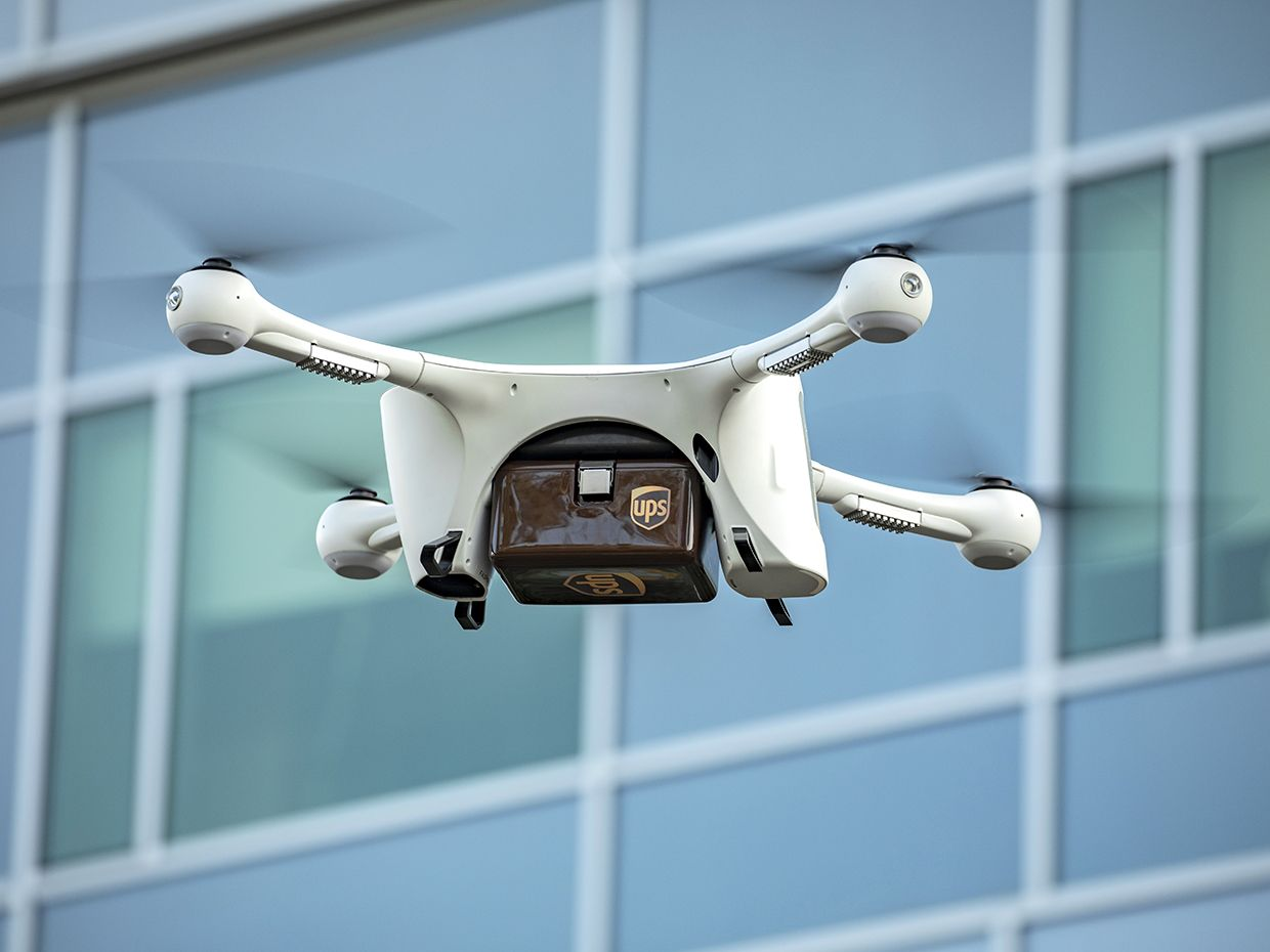 Flying UPS drone.