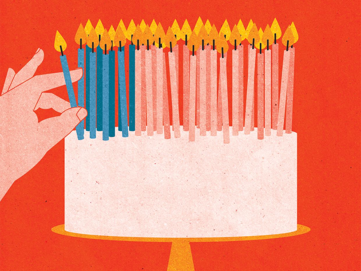 illustration of a birthday cake with candles